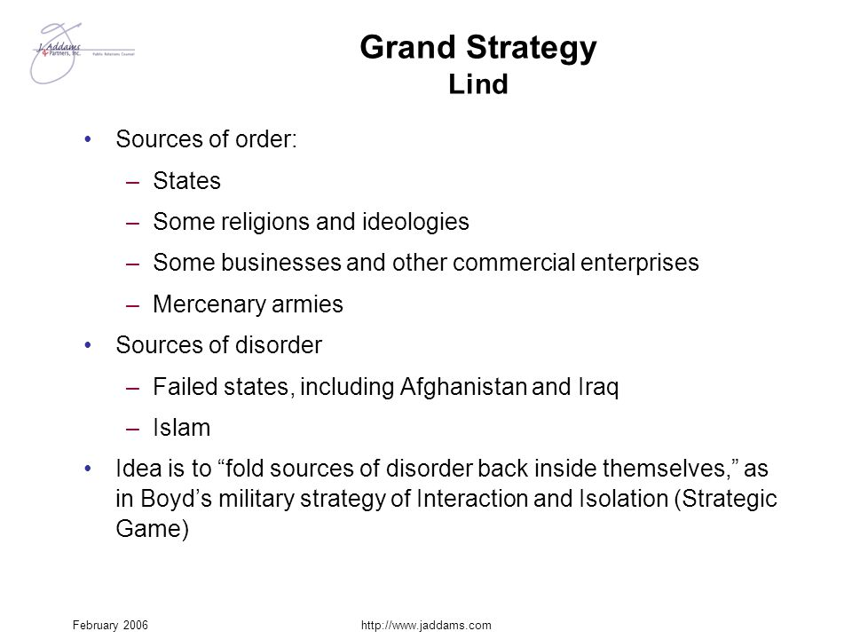 Grand Strategy Lind Sources of order: States
