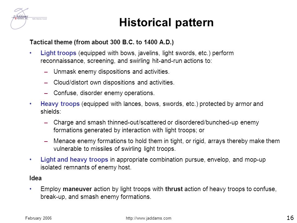 Historical pattern Tactical theme (from about 300 B.C. to 1400 A.D.)