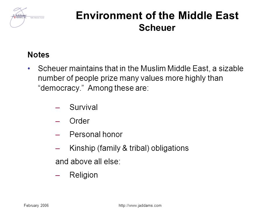 Environment of the Middle East Scheuer