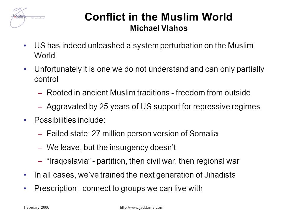 Conflict in the Muslim World Michael Vlahos
