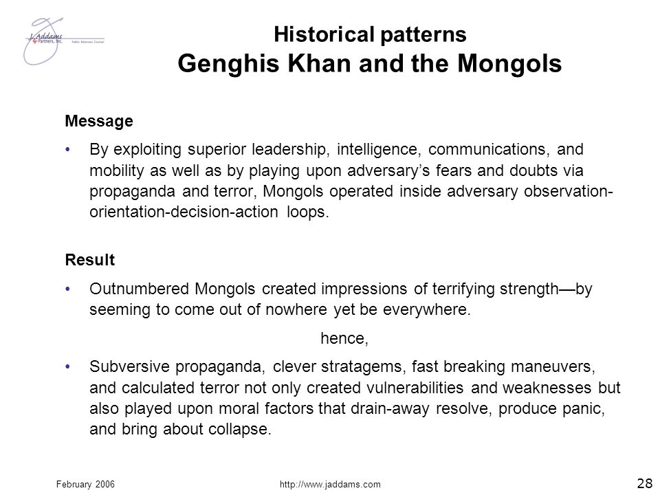 Historical patterns Genghis Khan and the Mongols