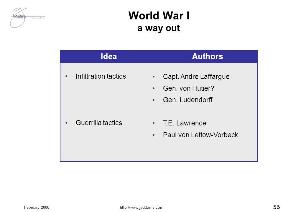 World War I a way out Idea Authors Infiltration tactics