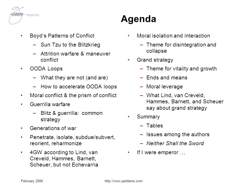 Agenda Boyd's Patterns of Conflict Sun Tzu to the Blitzkrieg