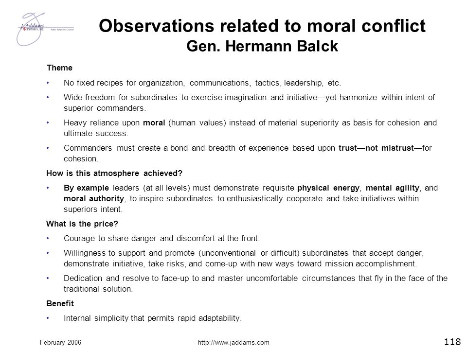 Observations related to moral conflict Gen. Hermann Balck