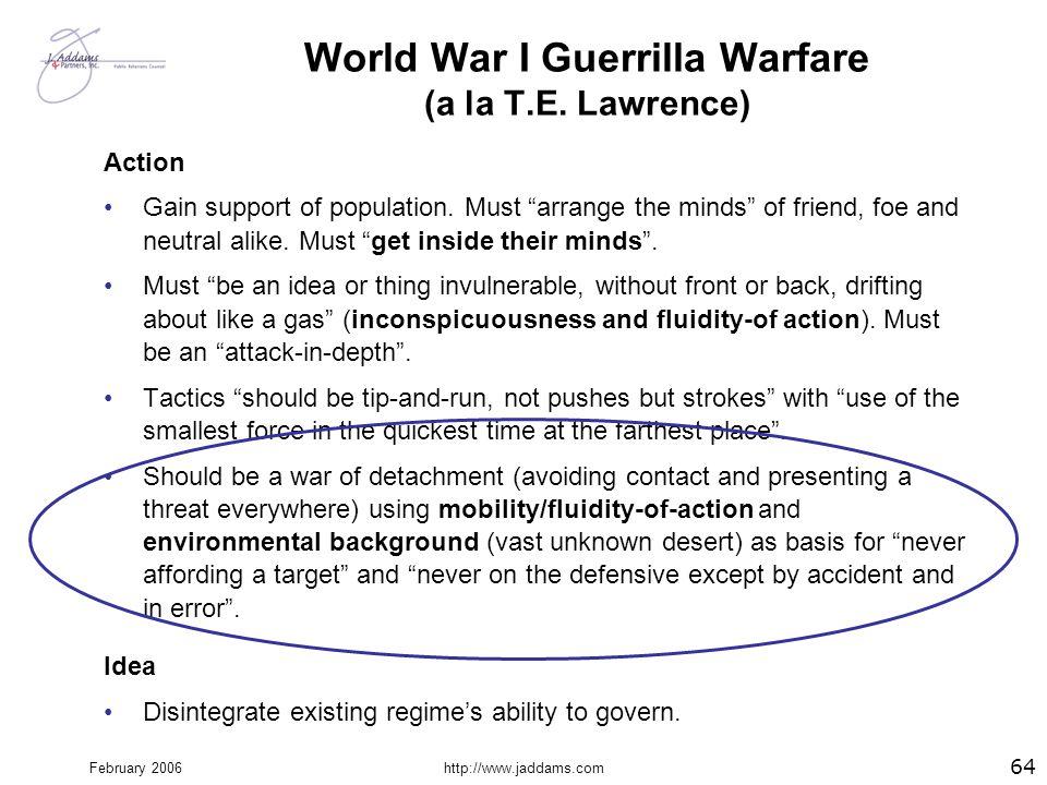World War I Guerrilla Warfare (a la T.E. Lawrence)