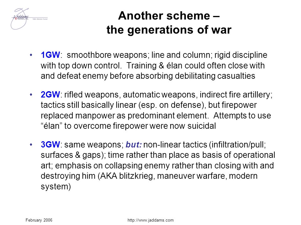 Another scheme – the generations of war