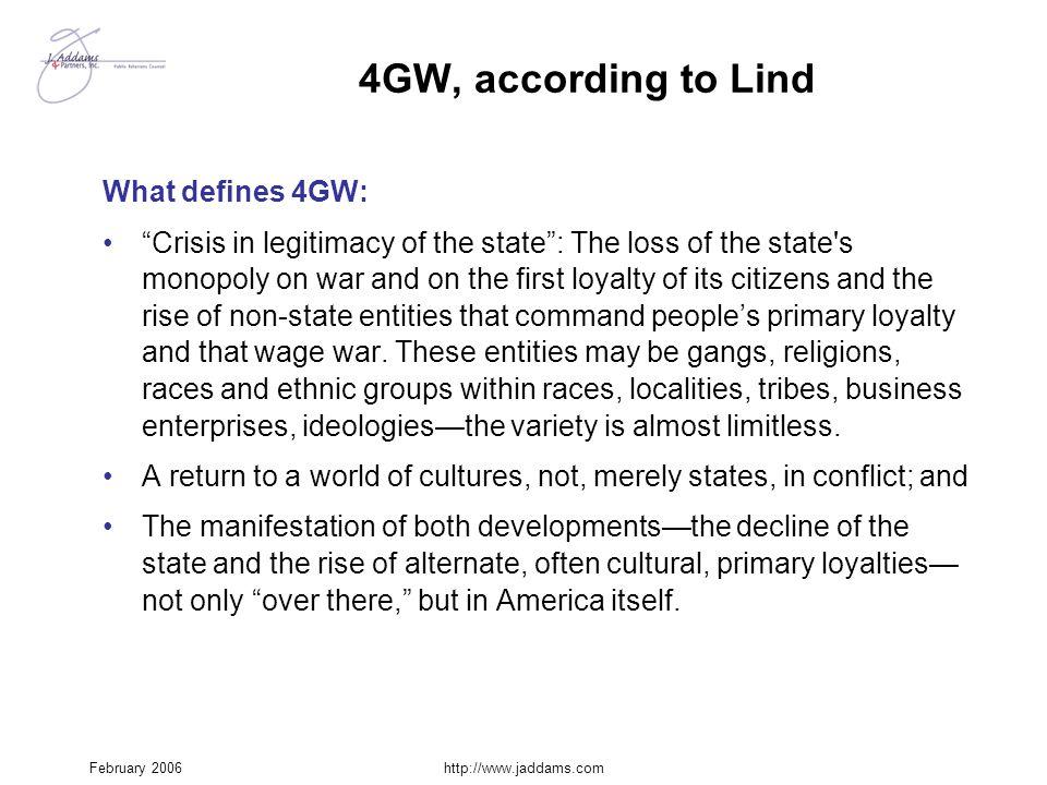 4GW, according to Lind What defines 4GW: