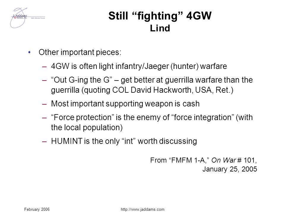 Still fighting 4GW Lind
