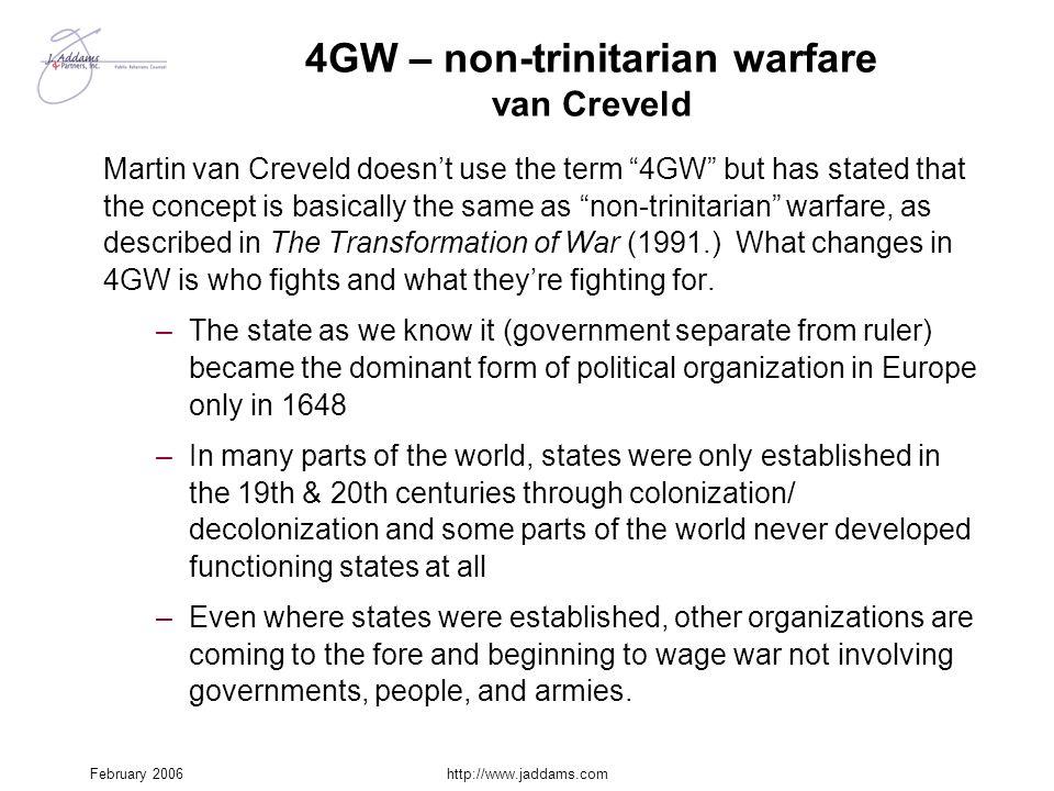 4GW – non-trinitarian warfare van Creveld