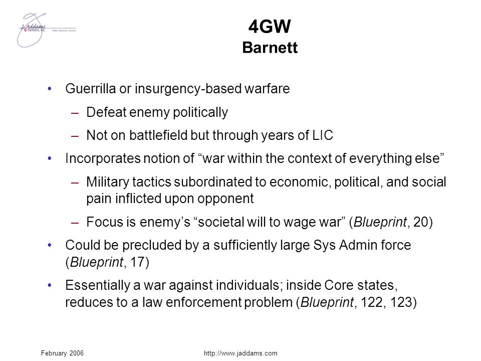 4GW Barnett Guerrilla or insurgency-based warfare