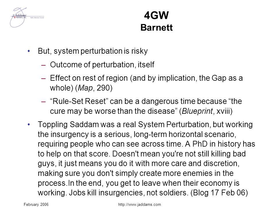 4GW Barnett But, system perturbation is risky
