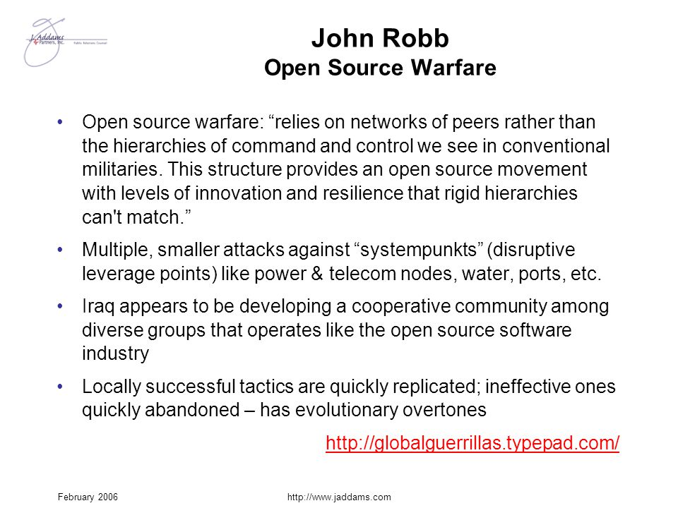 John Robb Open Source Warfare