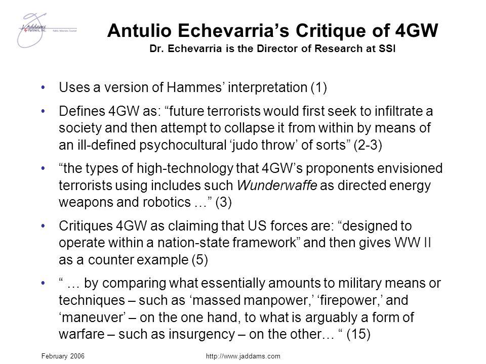 Antulio Echevarria's Critique of 4GW Dr