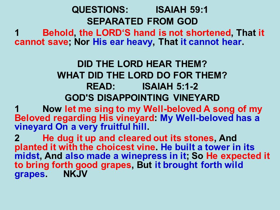 WHAT DID THE LORD DO FOR THEM GOD S DISAPPOINTING VINEYARD