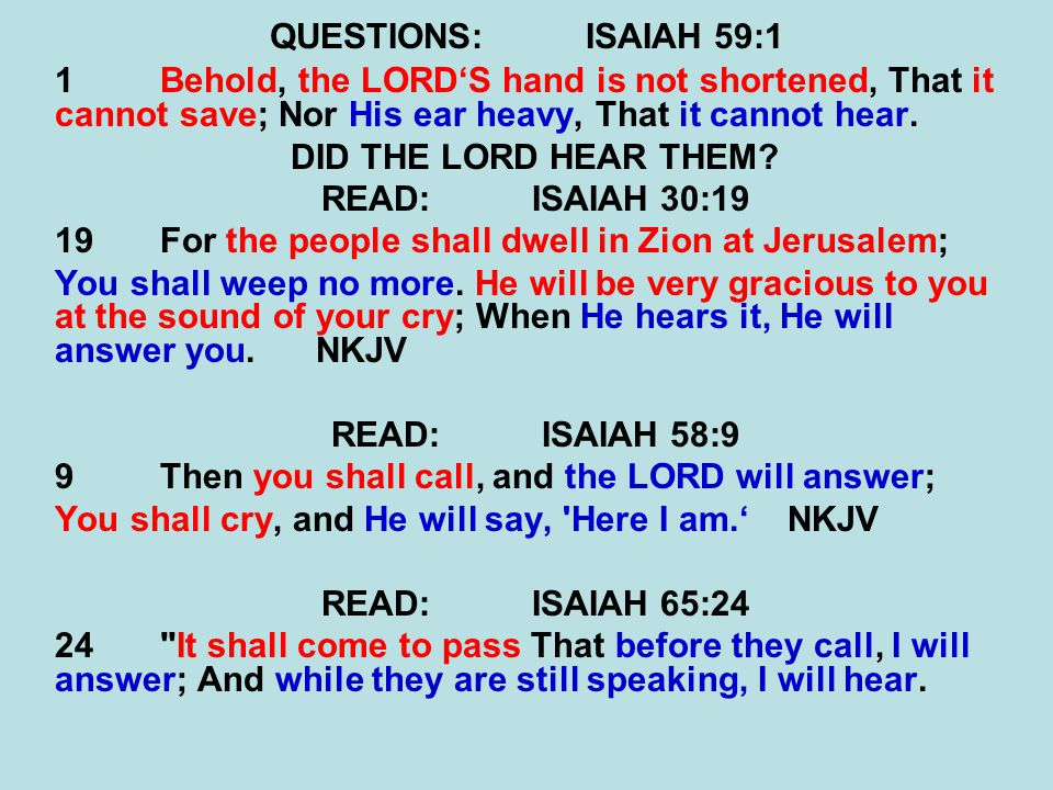 QUESTIONS: ISAIAH 59:1 1 Behold, the LORD'S hand is not shortened, That it cannot save; Nor His ear heavy, That it cannot hear.