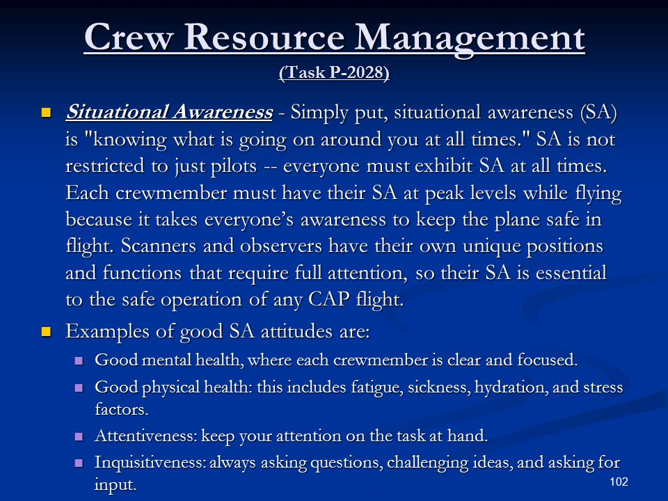 Crew Resource Management (Task P-2028)