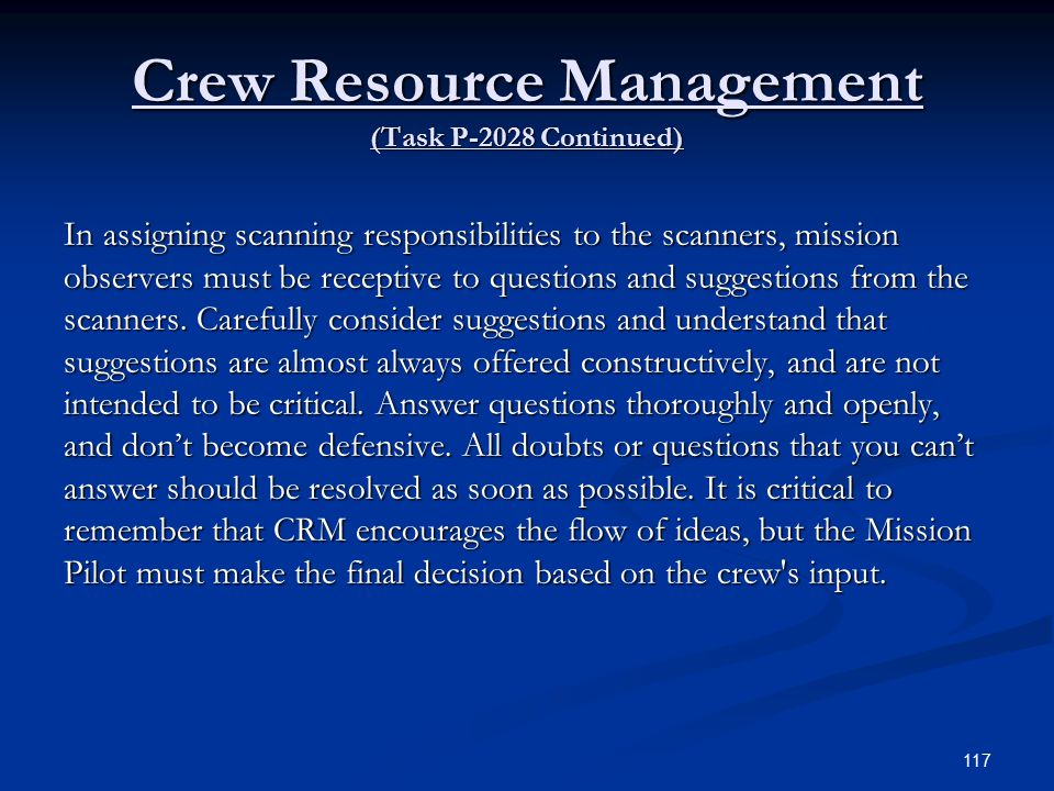 Crew Resource Management (Task P-2028 Continued)
