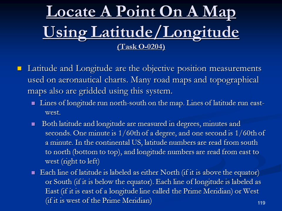 Locate A Point On A Map Using Latitude/Longitude (Task O-0204)