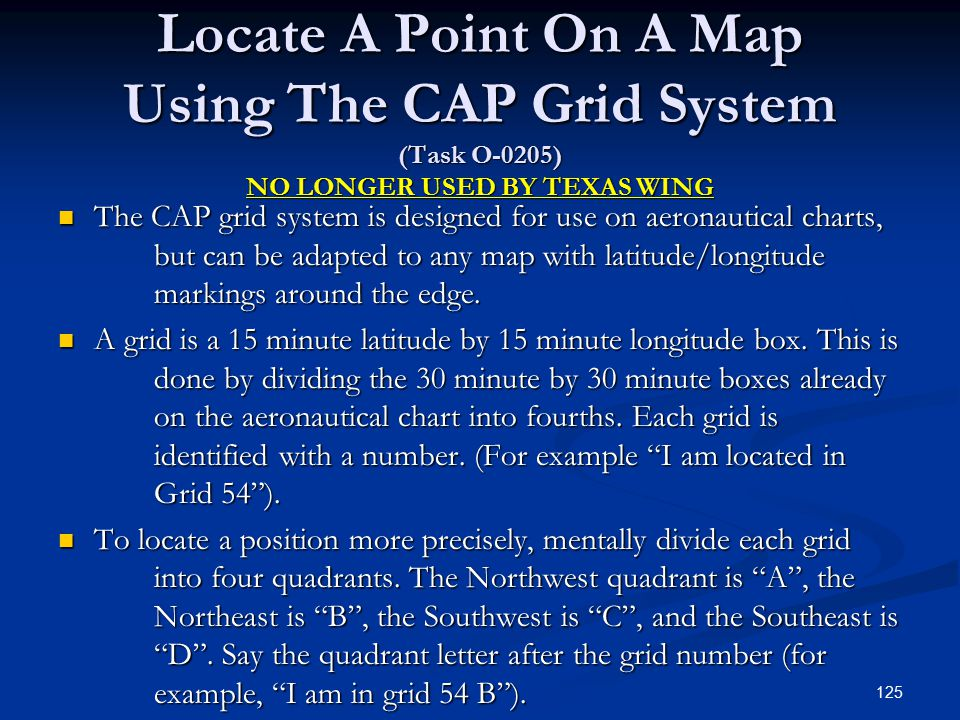 Locate A Point On A Map Using The CAP Grid System (Task O-0205) NO LONGER USED BY TEXAS WING