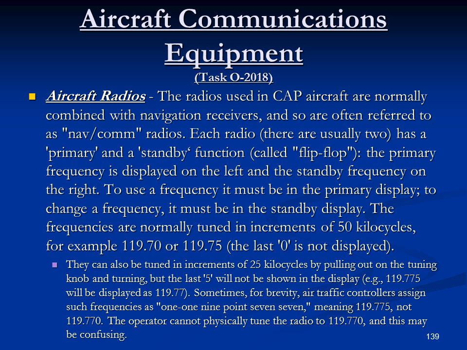 Aircraft Communications Equipment (Task O-2018)