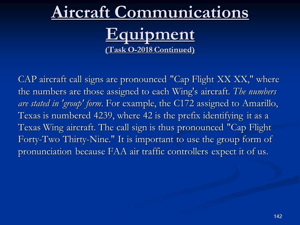 Aircraft Communications Equipment (Task O-2018 Continued)