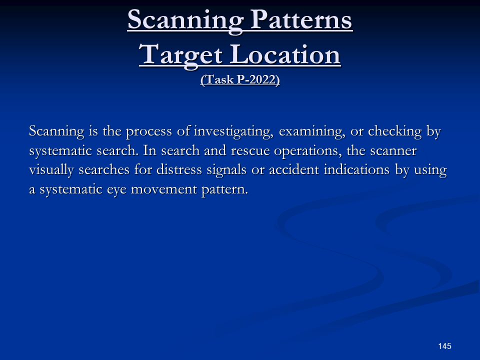 Scanning Patterns Target Location (Task P-2022)
