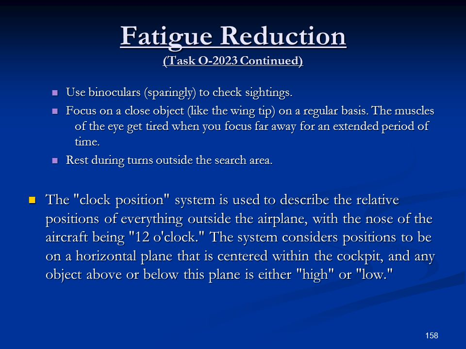 Fatigue Reduction (Task O-2023 Continued)