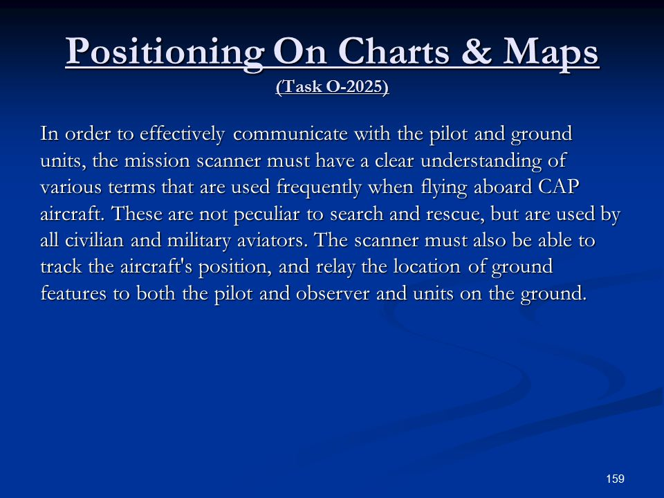 Positioning On Charts & Maps (Task O-2025)