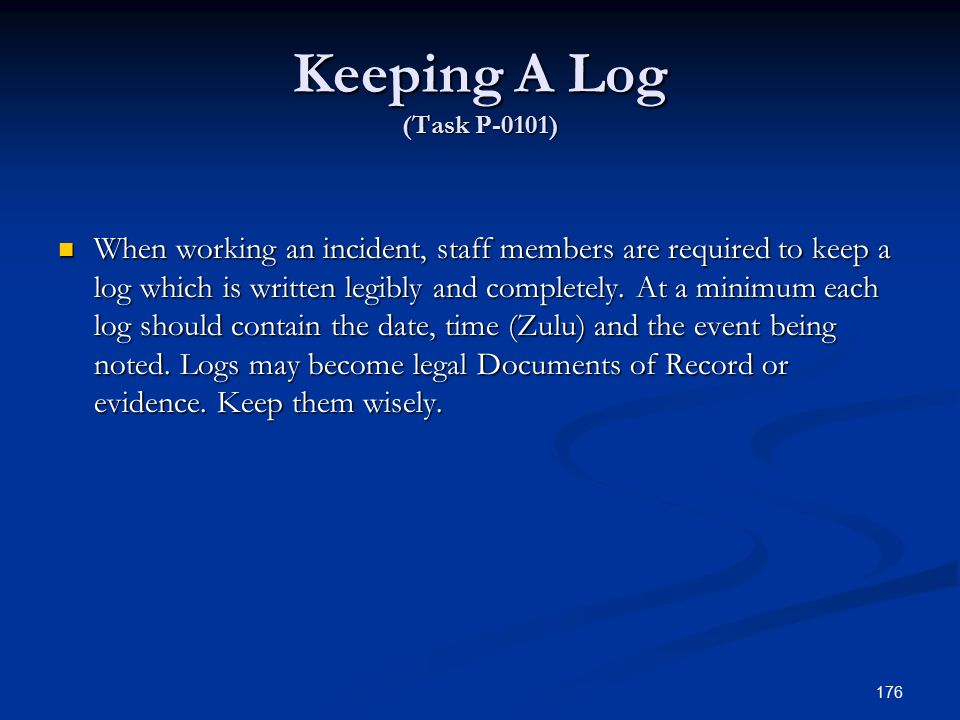 Keeping A Log (Task P-0101)
