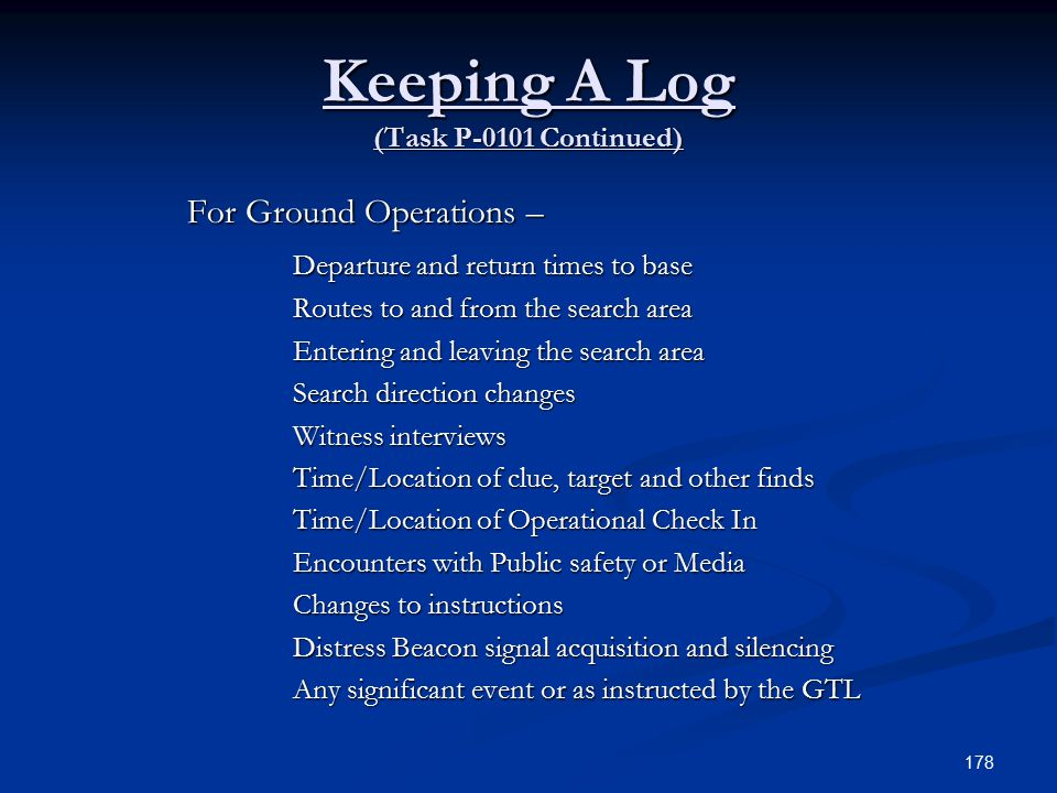 Keeping A Log (Task P-0101 Continued)