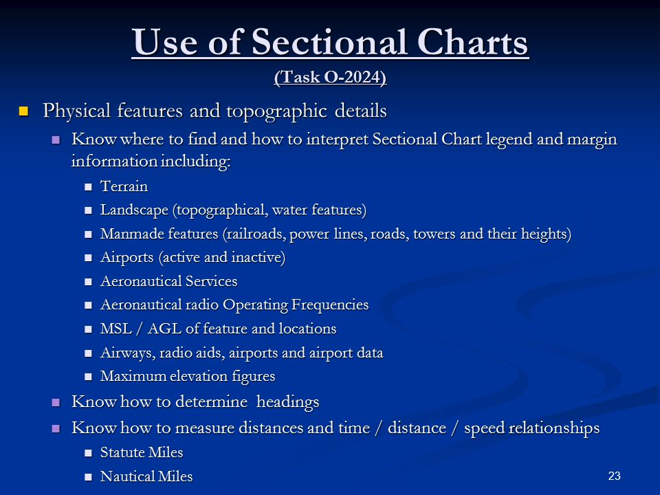 Use of Sectional Charts (Task O-2024)