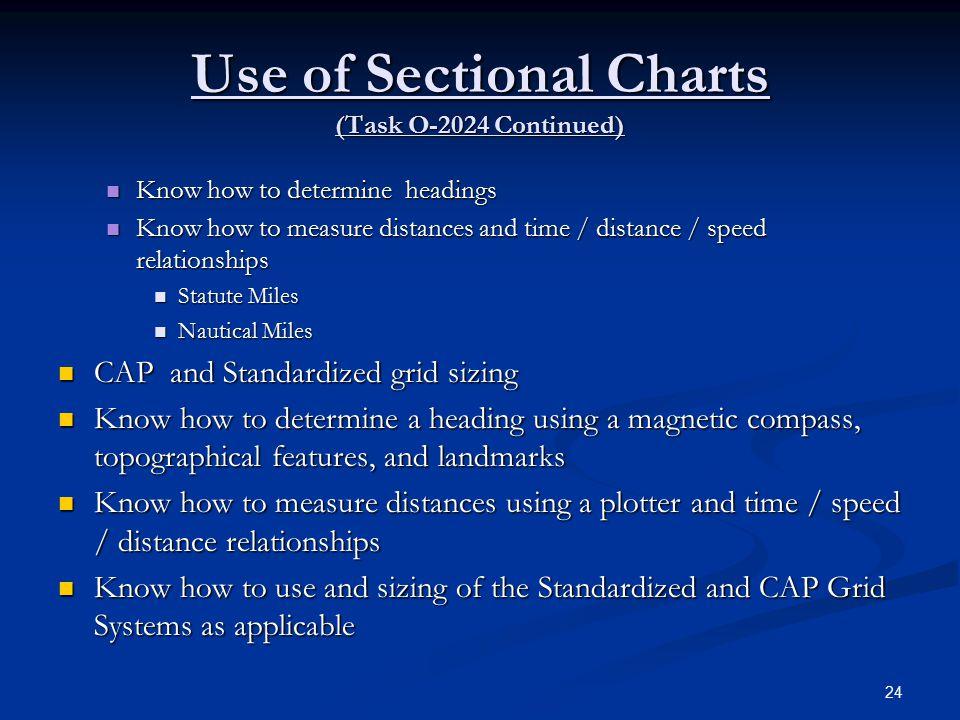 Use of Sectional Charts (Task O-2024 Continued)