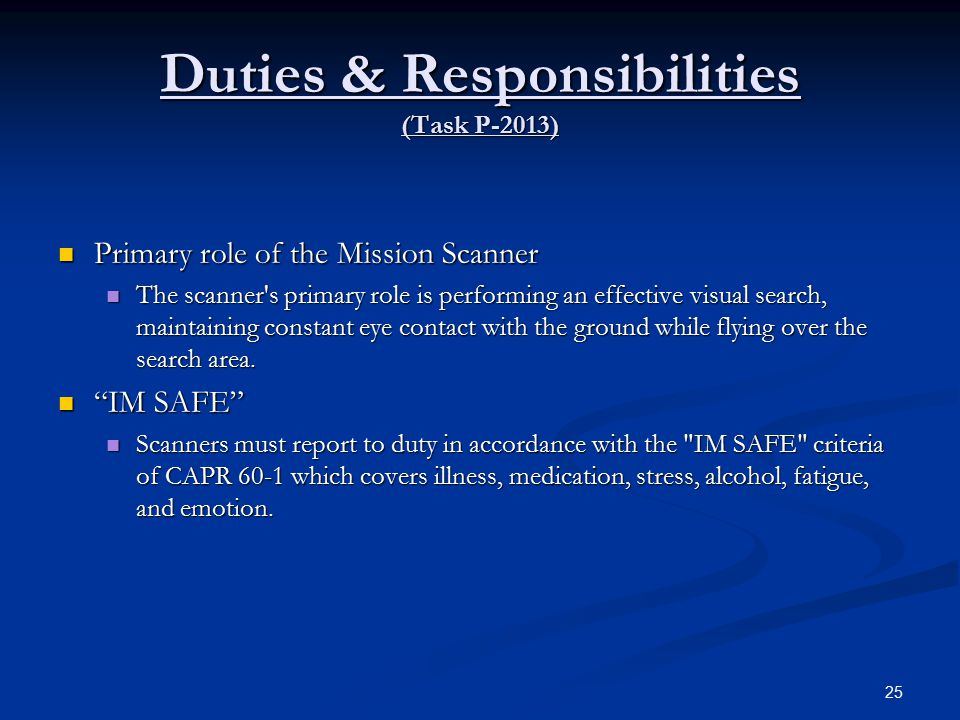Duties & Responsibilities (Task P-2013)