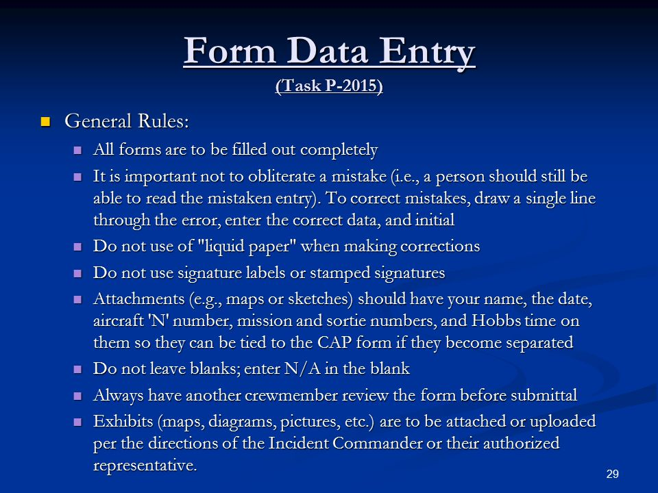Form Data Entry (Task P-2015)