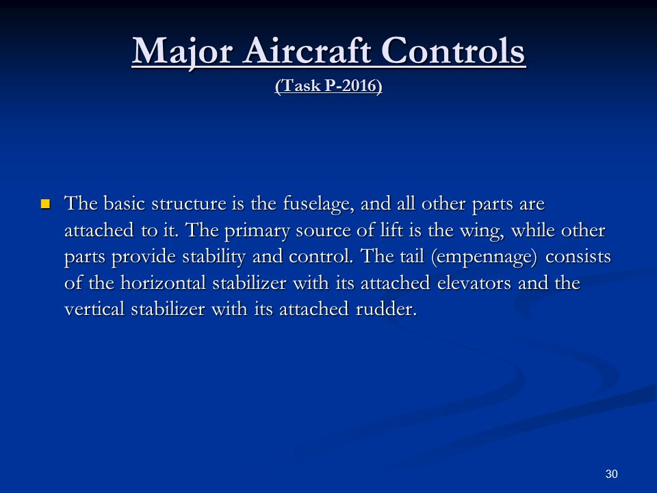 Major Aircraft Controls (Task P-2016)
