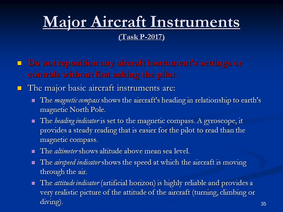 Major Aircraft Instruments (Task P-2017)