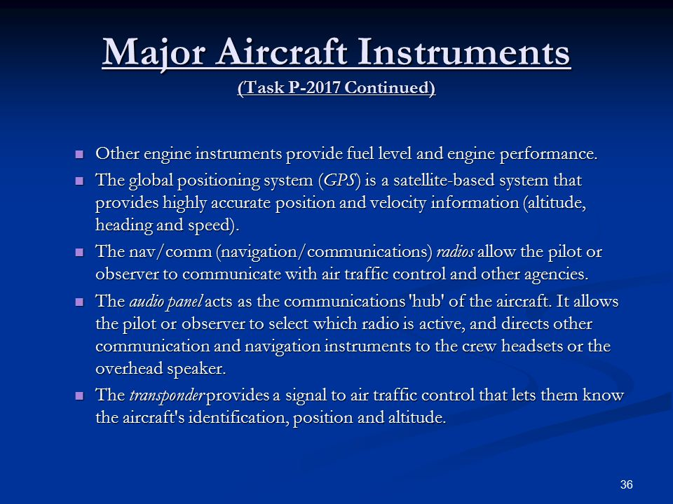 Major Aircraft Instruments (Task P-2017 Continued)