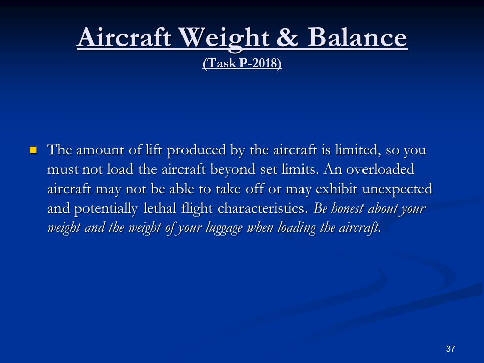 Aircraft Weight & Balance (Task P-2018)