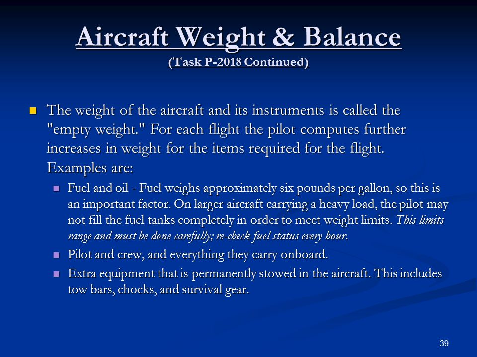 Aircraft Weight & Balance (Task P-2018 Continued)