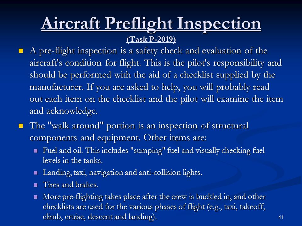 Aircraft Preflight Inspection (Task P-2019)
