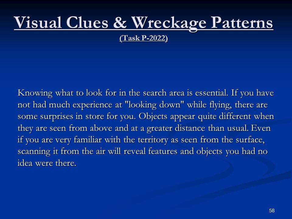 Visual Clues & Wreckage Patterns (Task P-2022)