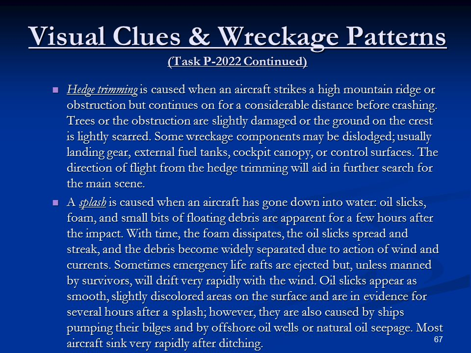 Visual Clues & Wreckage Patterns (Task P-2022 Continued)