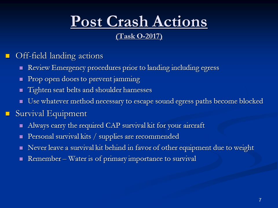 Post Crash Actions (Task O-2017)