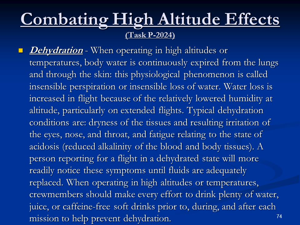 Combating High Altitude Effects (Task P-2024)
