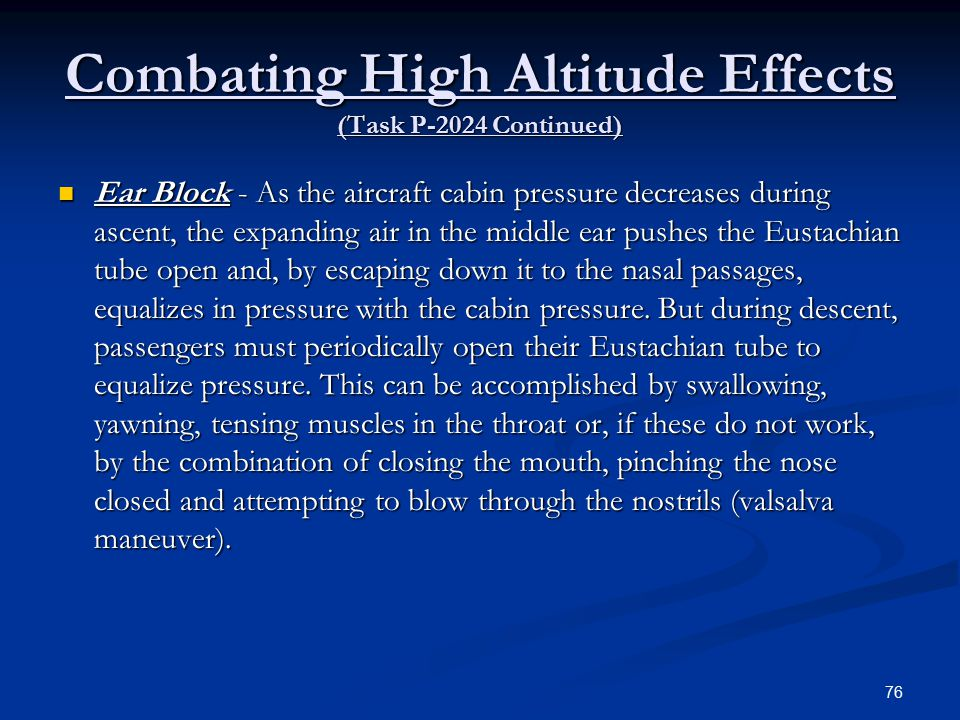Combating High Altitude Effects (Task P-2024 Continued)