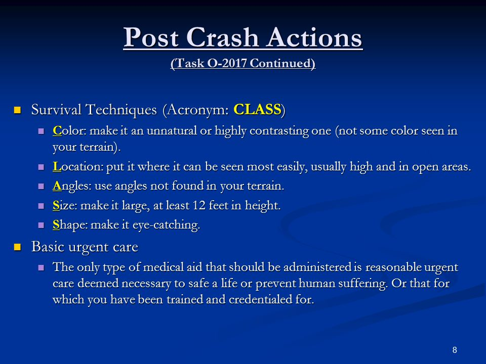 Post Crash Actions (Task O-2017 Continued)