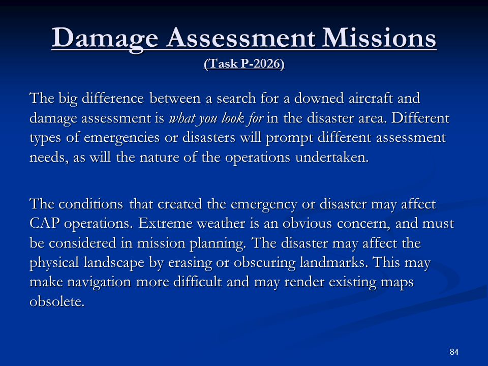 Damage Assessment Missions (Task P-2026)
