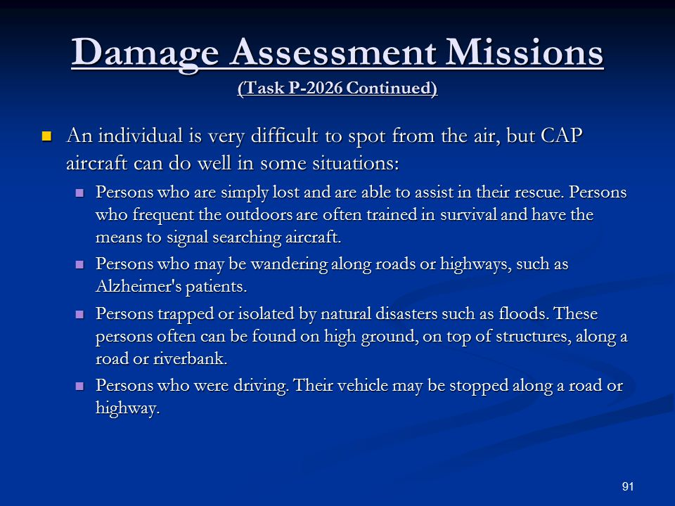 Damage Assessment Missions (Task P-2026 Continued)