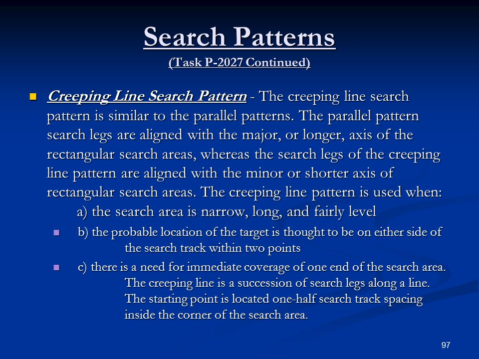 Search Patterns (Task P-2027 Continued)