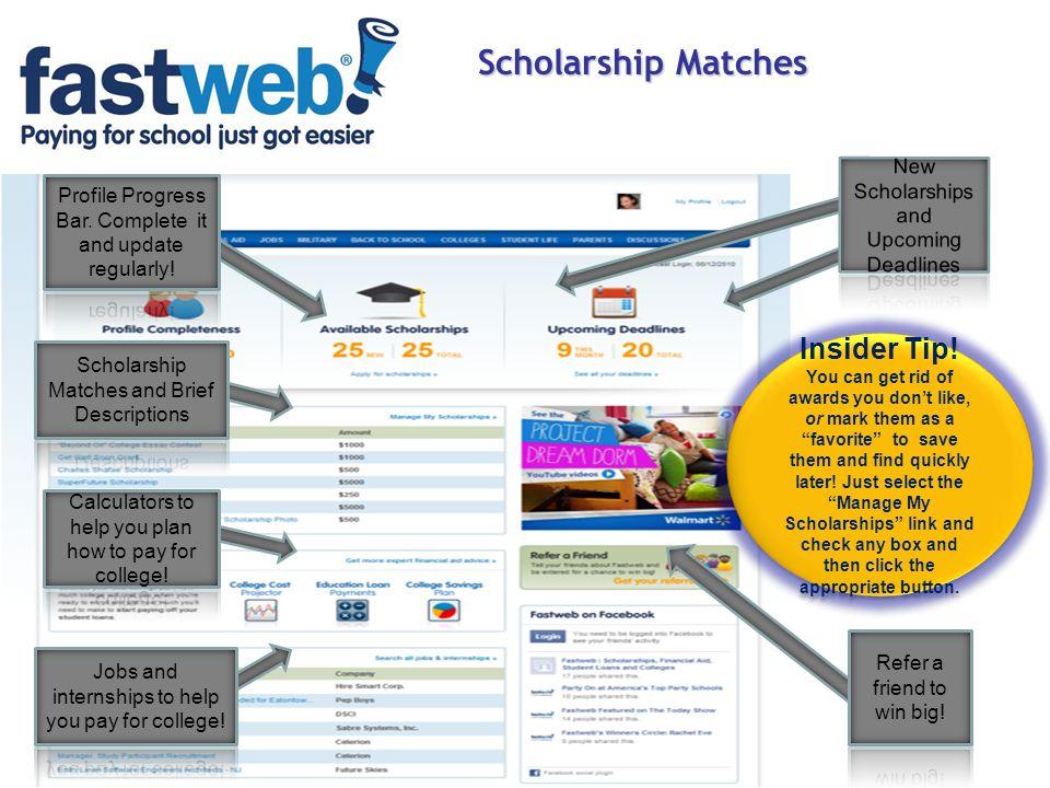 Scholarship Matches Insider Tip!